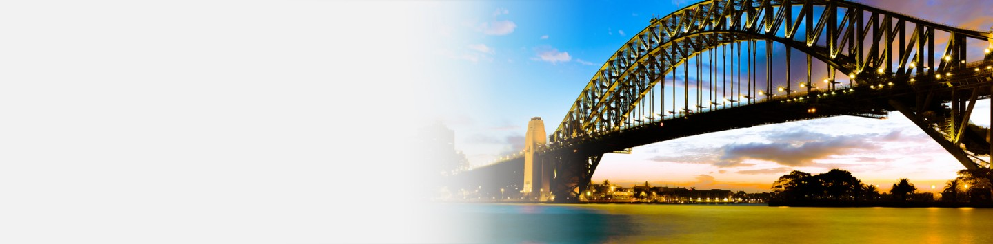 sunset at the iconic sydney harbour bridge