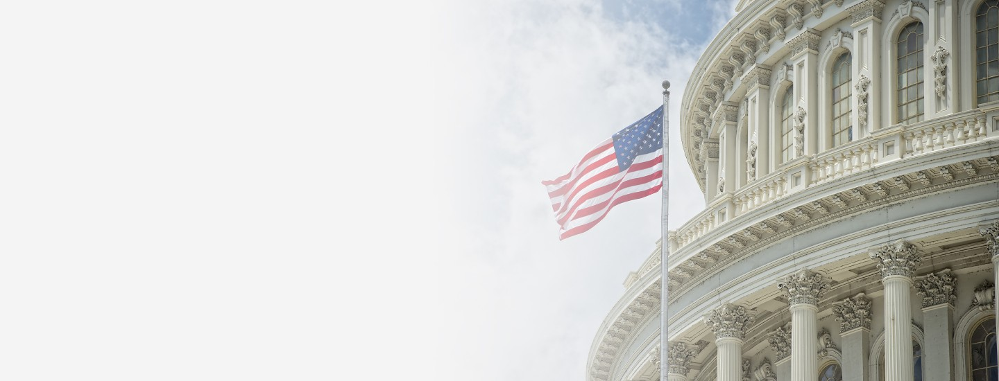 2880x1100 left gray gradient of Washington DC Capitol dome detail with waving American flag