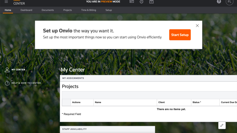 Onvio Firm Management preview mode screenshot