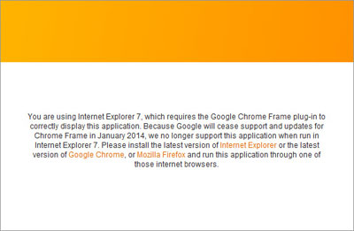NetClient CS Internet Explorer 7 Message