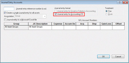 Accounting CS Journal Entry dialog