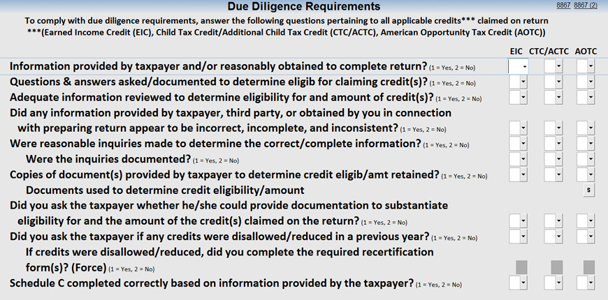 IRS Form 8867 Redesign - Thomson Reuters Tax & Accounting