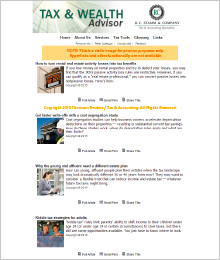 Sample Tax and Wealth Advisor Email Marketing Newsletter