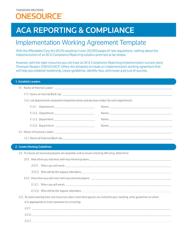 ACA Reporting and Compliance Implementation Working Agreement Template cover