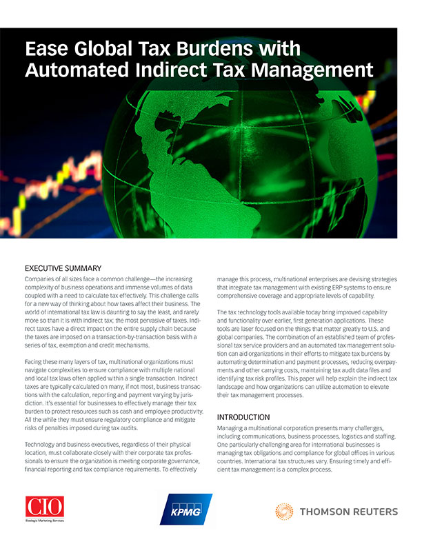 Ease Global Tax Burdens with Automated Indirect Tax Management cover
