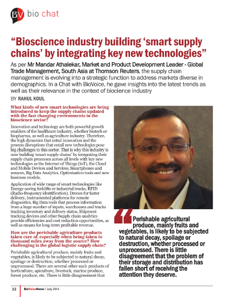 Bioscience Industry Building Smart Supply Chains