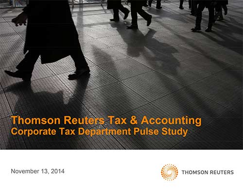 Thomson Reuters Tax & Accounting Corporate Tax Department Pulse Study cover