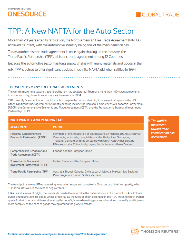 Tpp A New Nafta For The Auto Sector