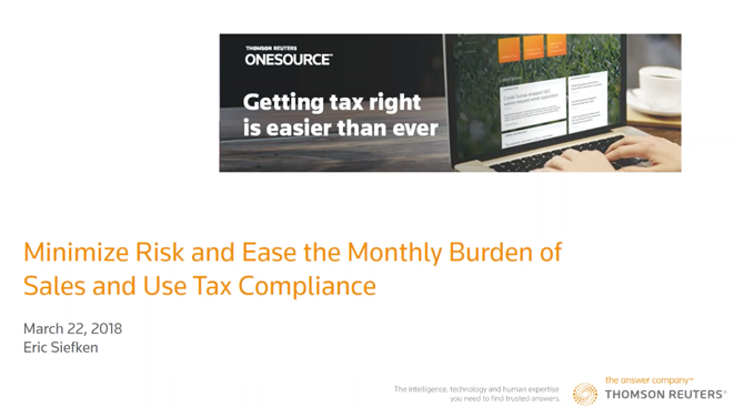 Watch the Simplify Sales and Use Tax Compliance with ONESOURCE webinar