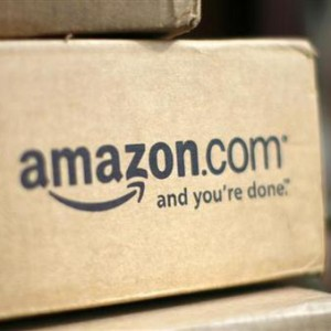 A box from Amazon.com is pictured on the porch of a house in Golden