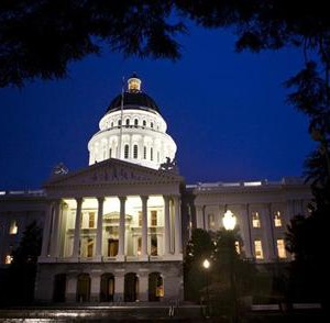 Exterior shot of State Capitol is seen as California legislators work late into the night to pass $40 billion budget in building in Sacramento