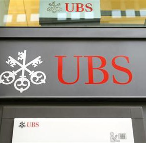 The logo of Swiss bank UBS is seen at the bank's headquarters in Zurich