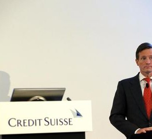 Dougan, CEO of Credit Suisse, waits for the start of the full year results conference in Zurich