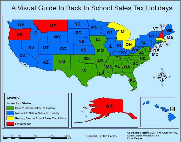 back to school sales tax holidays
