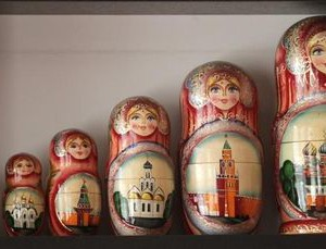 Painted Matryoshka dolls, or Russian nesting dolls, are pictured in the Centre of Russian Culture in Daugavpils