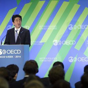 Japanese Prime Minister Abe delivers a speech at the Ministerial Meeting of the Organisation for Economic Co-operation and Development (OECD) in Paris