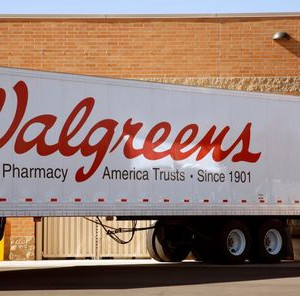 A Walgreens truck unloads at a store in Westminster