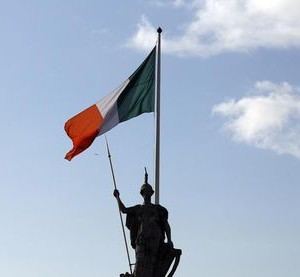 The Irish flag flies above the General Post Office on O'Connell Street in Dublin