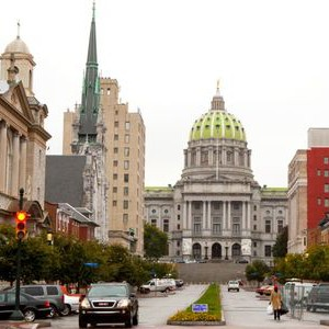 The Pennsylvania State Capitol Building as seen from State Street in Harrisburg Pennsylvania