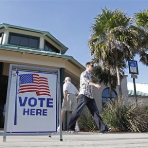 Voters in the Florida Republican presidential primary are shown at a polling place in Sugar Sand Park in Boca Raton
