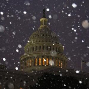 A general view of the U.S. Capitol in early morning snow in Washington