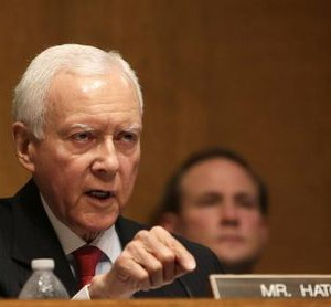 Senator Hatch questions witnesses during testimony at the Senate Finance Committee in Washington