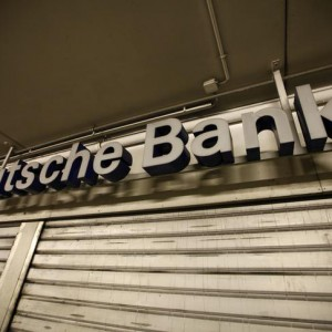A closed branch of Deutsche Bank is pictured at a parking a parking garage in Bochum