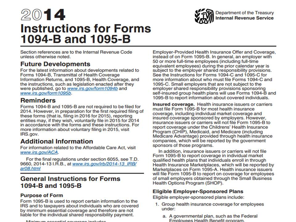 Irs Releases Final Forms 1094 And 1095 For Reporting Employer Health