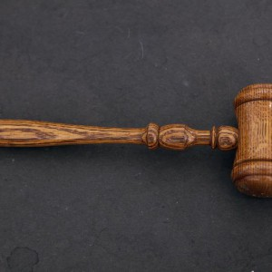 The judge's gavel is seen in court room 422 of the New York Supreme Court