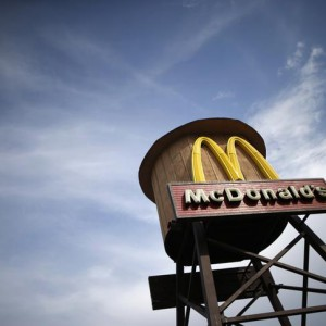A water tower is seen at a McDonald's restaurant in Lancaster, California March 18, 2015. REUTERS/Lucy Nicholson (UNITED STATES - Tags: BUSINESS FOOD)