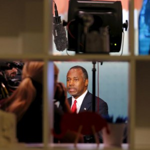 Republican Presidential candidate Ben Carson is interviewed prior to the Republican Presidential Debate, in Las Vegas, Nevada December 15, 2015.  REUTERS/Mike Blake