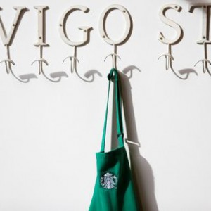 A barrista's apron is seen hanging on a peg in Starbucks' Mayfair Vigo Street branch in central London, September 12, 2012. Picture taken September 12, 2012. REUTERS/Andrew Winning