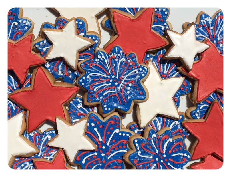 Credit: Royal icing firework and star cookies made by TuUyen Decker, Manager in Carrollton, TX