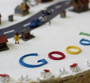 A cake decorated with the Google logo is pictured during a Google Street View startup event in Oberstaufen, November 2, 2010. The first panoramic images of German locations became available on Tuesday in Google Street View online service.   REUTERS/Michaela Rehle