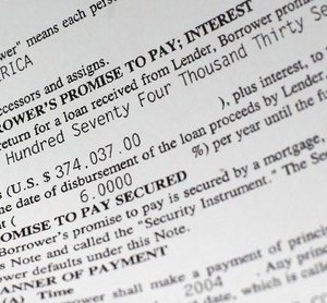 A portion of a mortgage document. Picture taken December 14, 2011.     To match Special Report FORECLOSURE/   REUTERS/Mike Segar