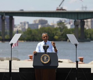 U.S. President Barack Obama speaks about transportation infrastructure during a visit to the Port of Wilmington in Wilmington, Delaware, U.S. on July 17, 2014.  TO MOVE WITH SPECIAL REPORT USA-DELAWARE/SECRECY  REUTERS/Kevin Lamarque/File Photo