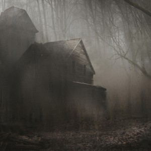 A haunted house sits in the middle of a creepy dark forest.