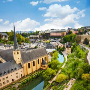 Top view of Abbey de Neumunster in Luxembourg City on Alzette river