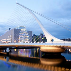 Samuel Beckett Bridge in Dublin after sunset