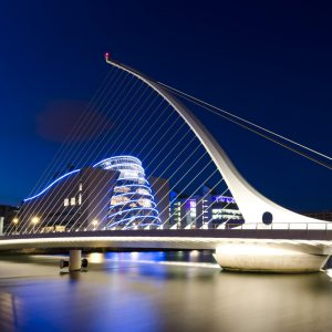 """The famous Samuel Beckett Bridge, in Dublin, Ireland, during night.More Dublin"""