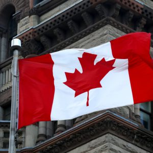 canadian flag and the tower background