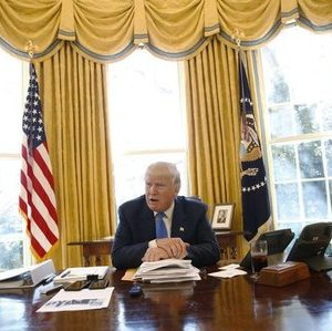 U.S. President Donald Trump gives an interview from his desk in the Oval Office at the White House in Washington, U.S., February 23, 2017. REUTERS/Jonathan Ernst - RTS101HR