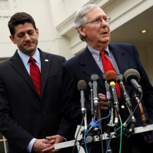U.S. House Speaker Paul Ryan (R-WI) (L) and Senate Majority Leader Mitch McConnell (R-KY) speak to reporters after meeting with President Trump at the White House in Washington, U.S. February 27, 2017. REUTERS/Jonathan Ernst