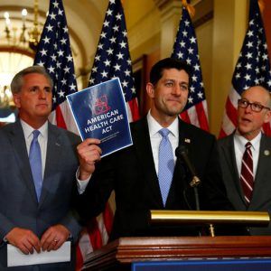 (L-R)U.S. House Majority Leader Kevin McCarthy, U.S. House Speaker Paul Ryan, and  U.S. Representative Greg Walden hold a news conference on the American Health Care Act on Capitol Hill in Washington, U.S. March 7, 2017. REUTERS/Eric Thayer     TPX IMAGES OF THE DAY