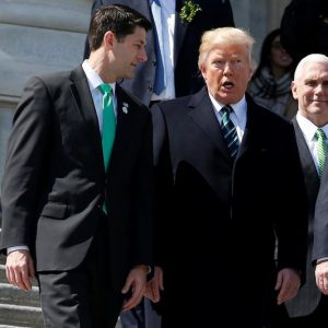 Speaker of the House Paul Ryan (R-WI), U.S. President Donald Trump and U.S. Vice President Mike Pence walk after attending a Friends of Ireland reception on Capitol Hill in Washington, U.S., March 16, 2017.      REUTERS/Joshua Roberts
