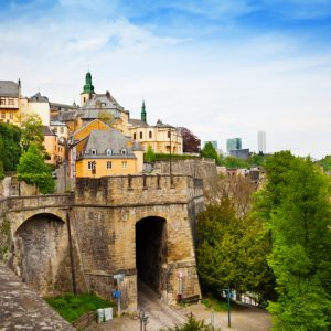 Luxemburg beautiful city view with tower wall  in summer