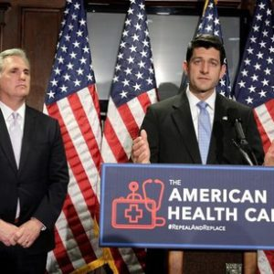 Speaker of the House Paul Ryan (R-WI) and House Majority Leader Kevin McCarthy (R-CA)  speak about the American Health Care Act, the Republican replacement to Obamacare, at the Republican National Committee in Washington, U.S., March 8, 2017.      REUTERS/Joshua Roberts
