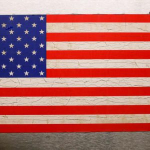 A U.S. flag is displayed on a New York City Subway in New York, U.S., February 7, 2017. REUTERS/Brendan McDermid