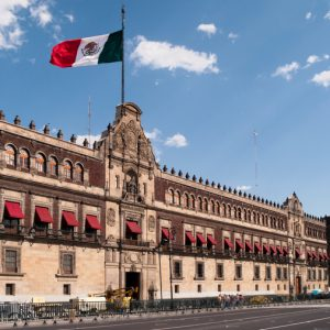 Multiple exposure of the main entrance with the Bell of Freedom, Palacio Nacional, Mexico City, Mexico.The National Palace, (or Palacio Nacional in Spanish), is the seat of the Mexican president and the federal executive in Mexico and the seat of the Mexican president. It is located on Mexico City's main square, the Plaza de la Constitucion (Zocalo). The palace is built on the ruins of Montezuma's palace.