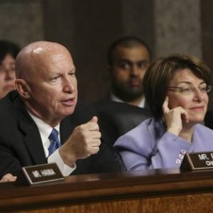 Joint Economic Committee members chairman Rep. Kevin Brady (R-TX) (L) and co-chair Sen. Amy Klobuchar (D-MN) (R) question Federal Reserve Board Chairman Ben Bernanke (not pictured) at the Joint Economic Committee hearings in Washington May 22, 2013.   REUTERS/Gary Cameron  (UNITED STATES - Tags: POLITICS BUSINESS) - RTXZWN8